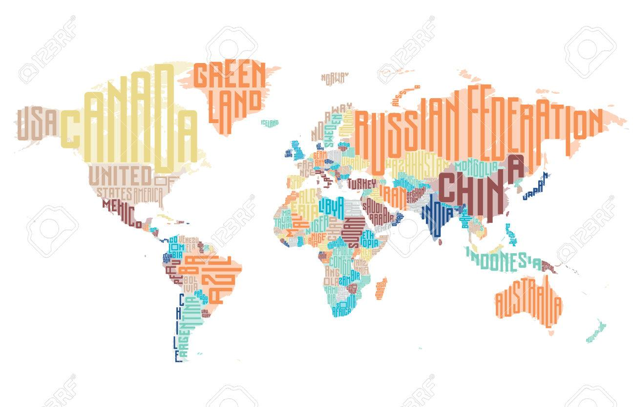 World map made of typographic country names vector illustration vector world map made of typographic country names vector illustration gumiabroncs Images