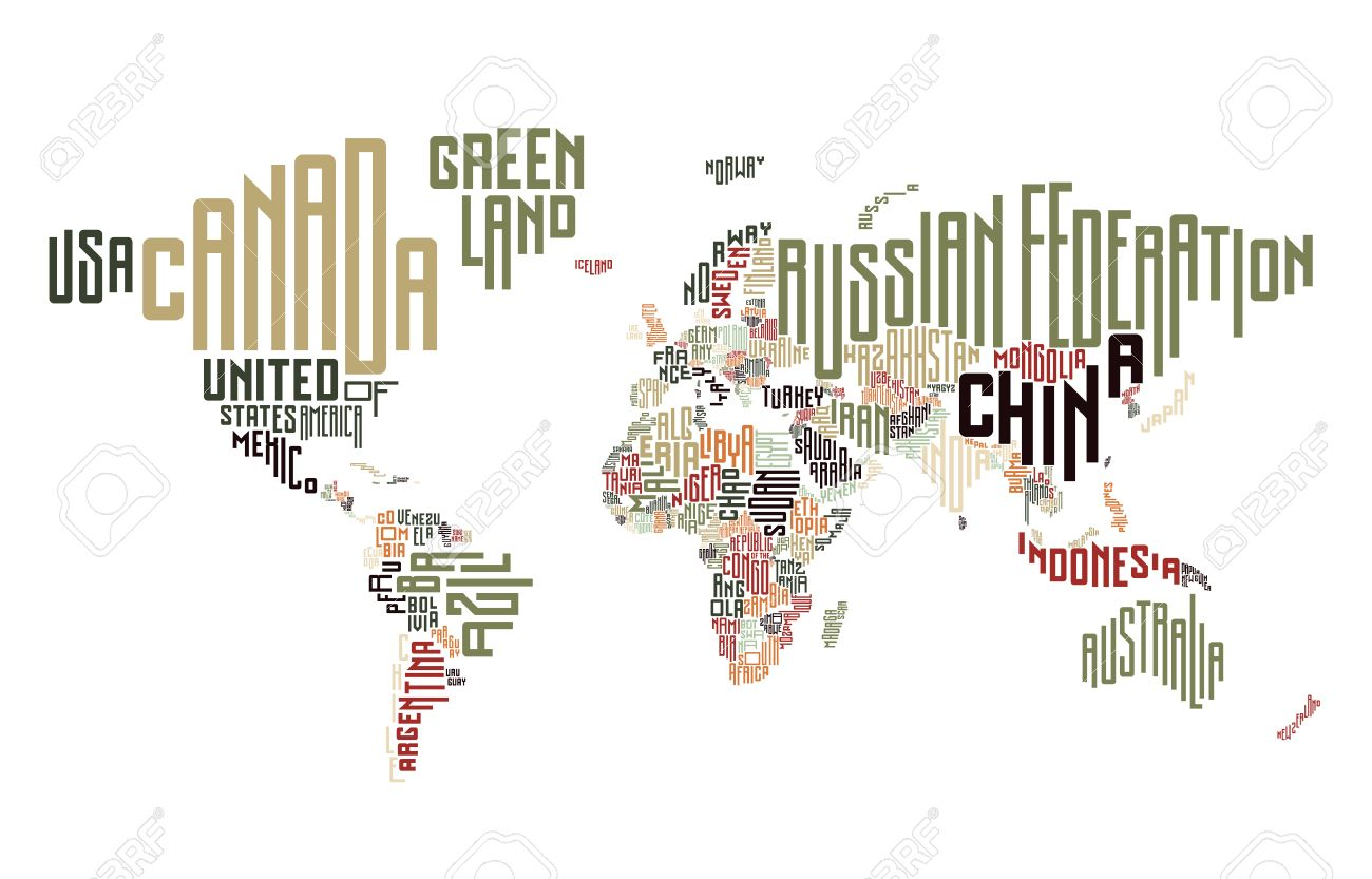 World map made of typographic country names vector illustration vector world map made of typographic country names vector illustration gumiabroncs Image collections