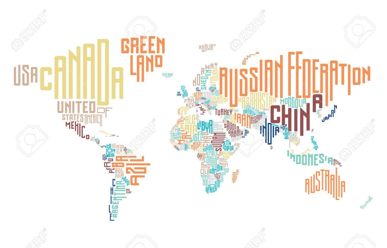 Mapa Del Mundo Hecho De Nombres De Paises Tipograficos
