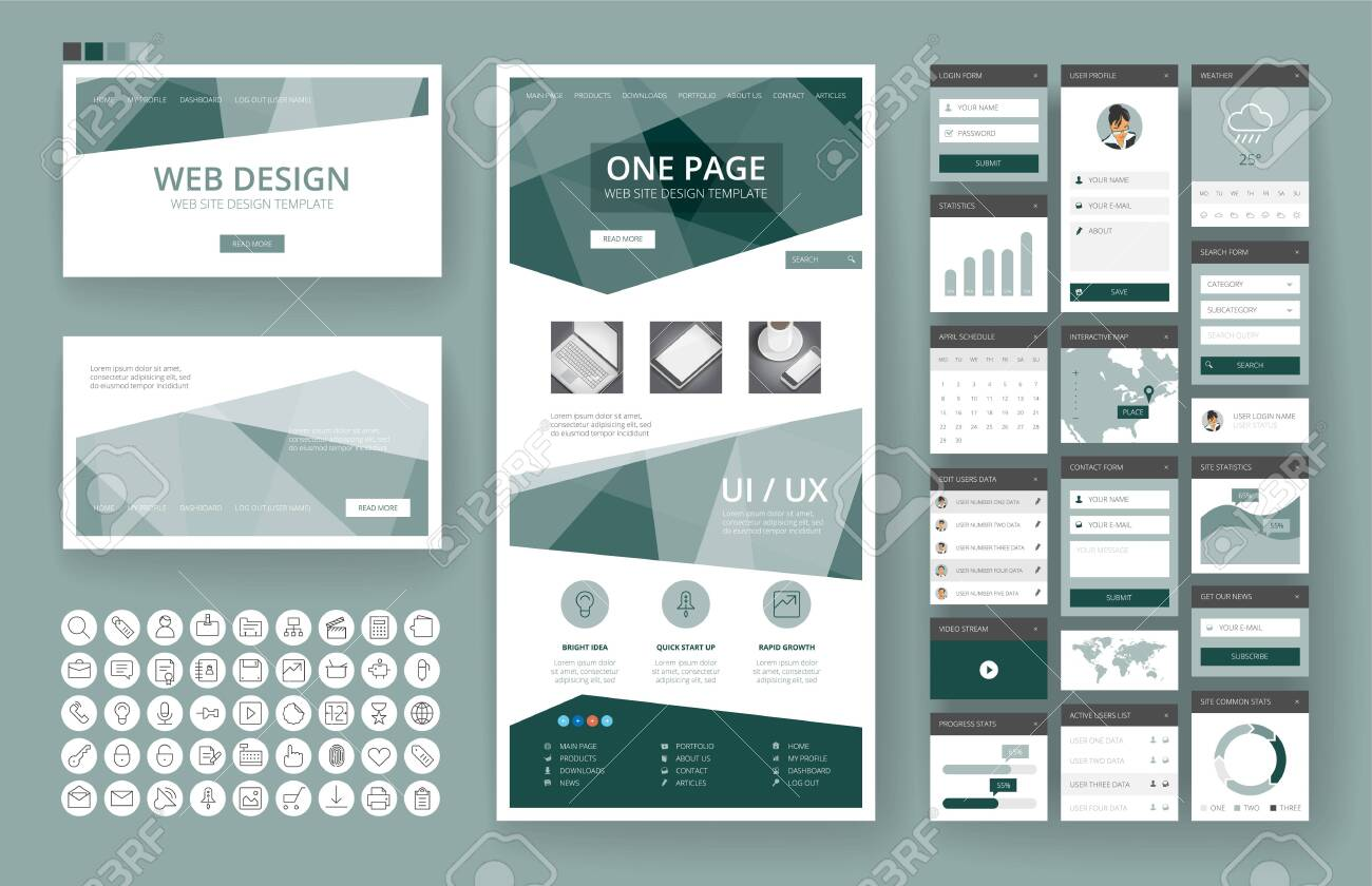 Website template, one page design, headers and interface elements. - 137238628