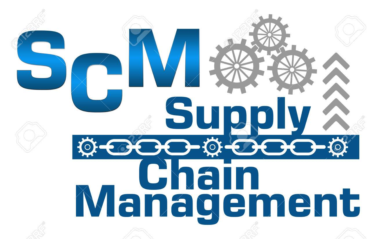 SCM Supply Chain Management Gears Chains Stock Photo, Picture And ...