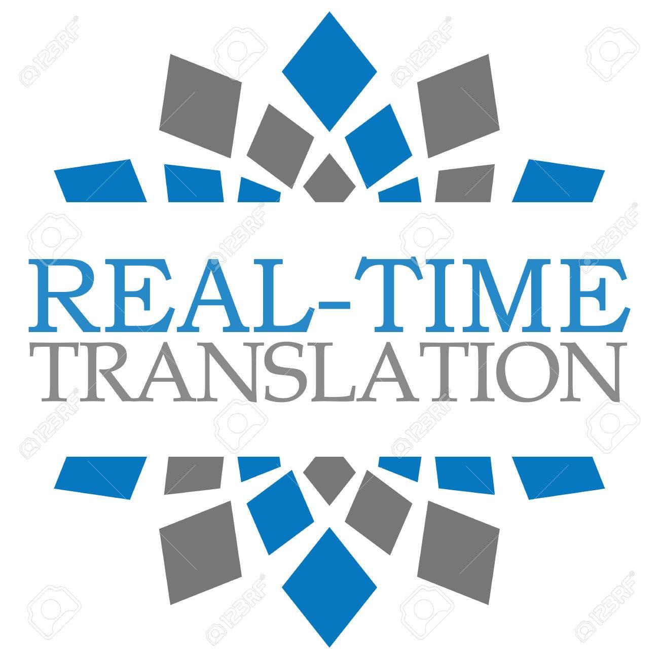 Real Time Traduction Bleu Gris Elements Carre Banque D Images Et