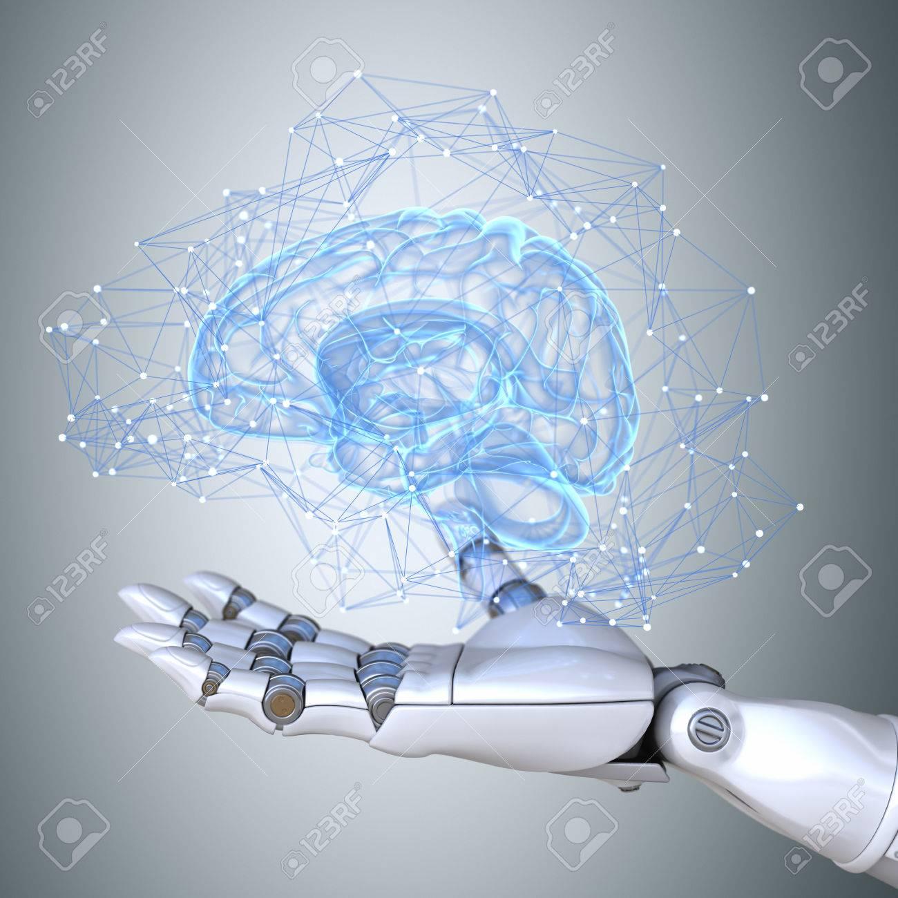 Robot hand holding virtual brain scheme - 67205815
