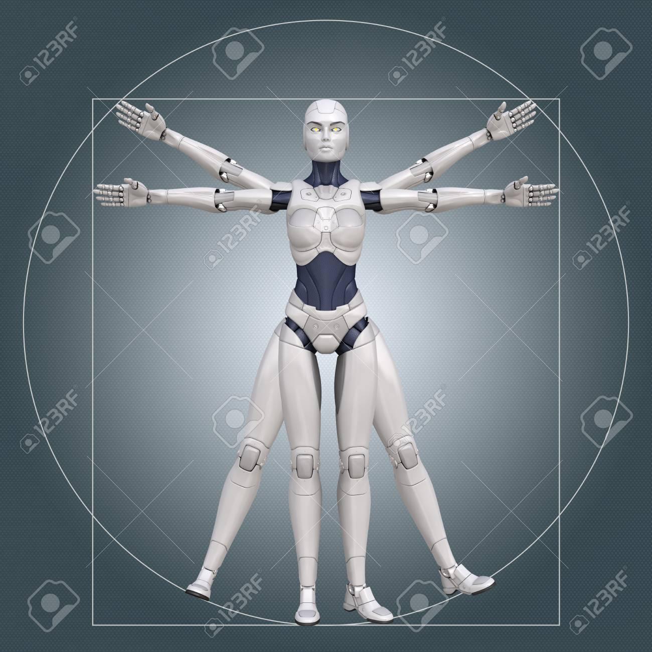 Vitruvian man, cyborg. 3D illustration - 87015905