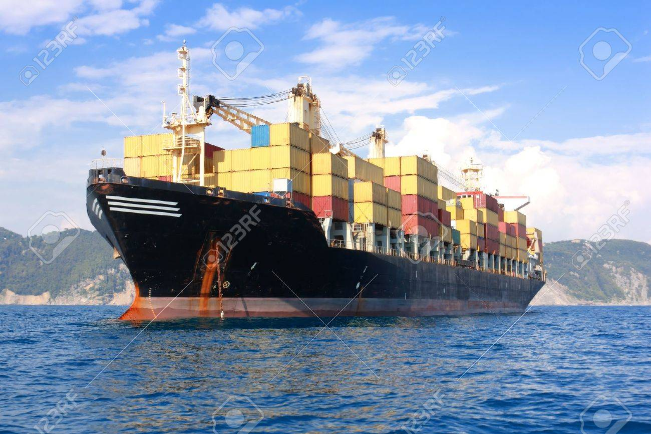 transportation, containers cargo ship out of the harbor Stock Photo - 8356315
