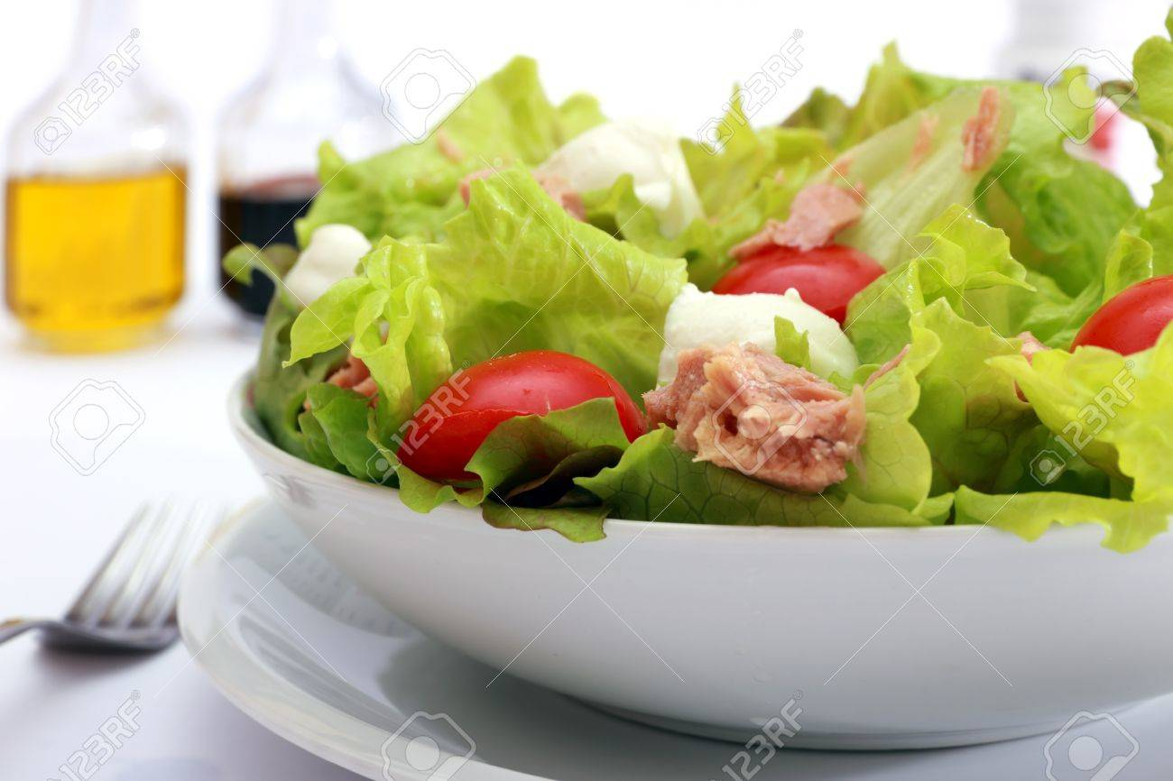 Green salad  with  tomatoes, mozzarella cheese and tuna in olive oil Stock Photo - 8512428