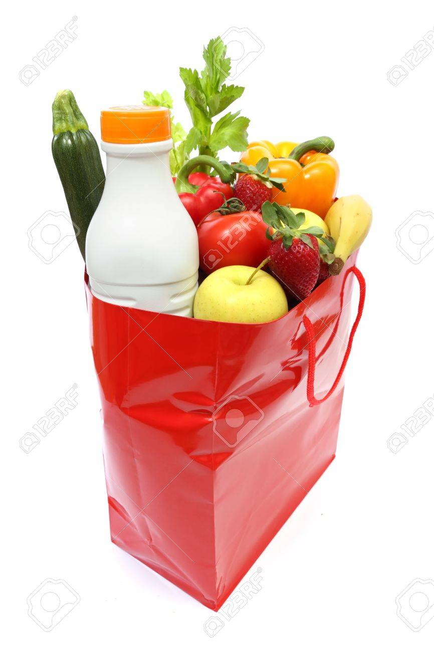 Red Shopping Bag Full Of Groceries Isolated On White Background ...