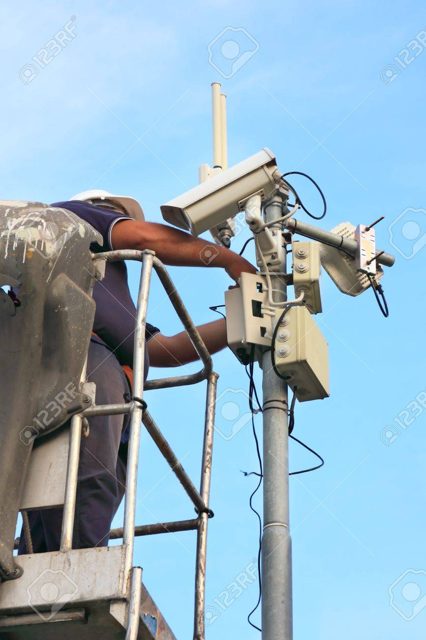 service on a security camera installation Stock Photo - 10442735