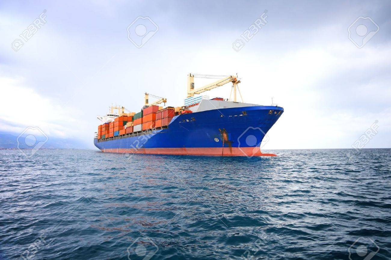 commercial container ship with dramatic sky Stock Photo - 10536430