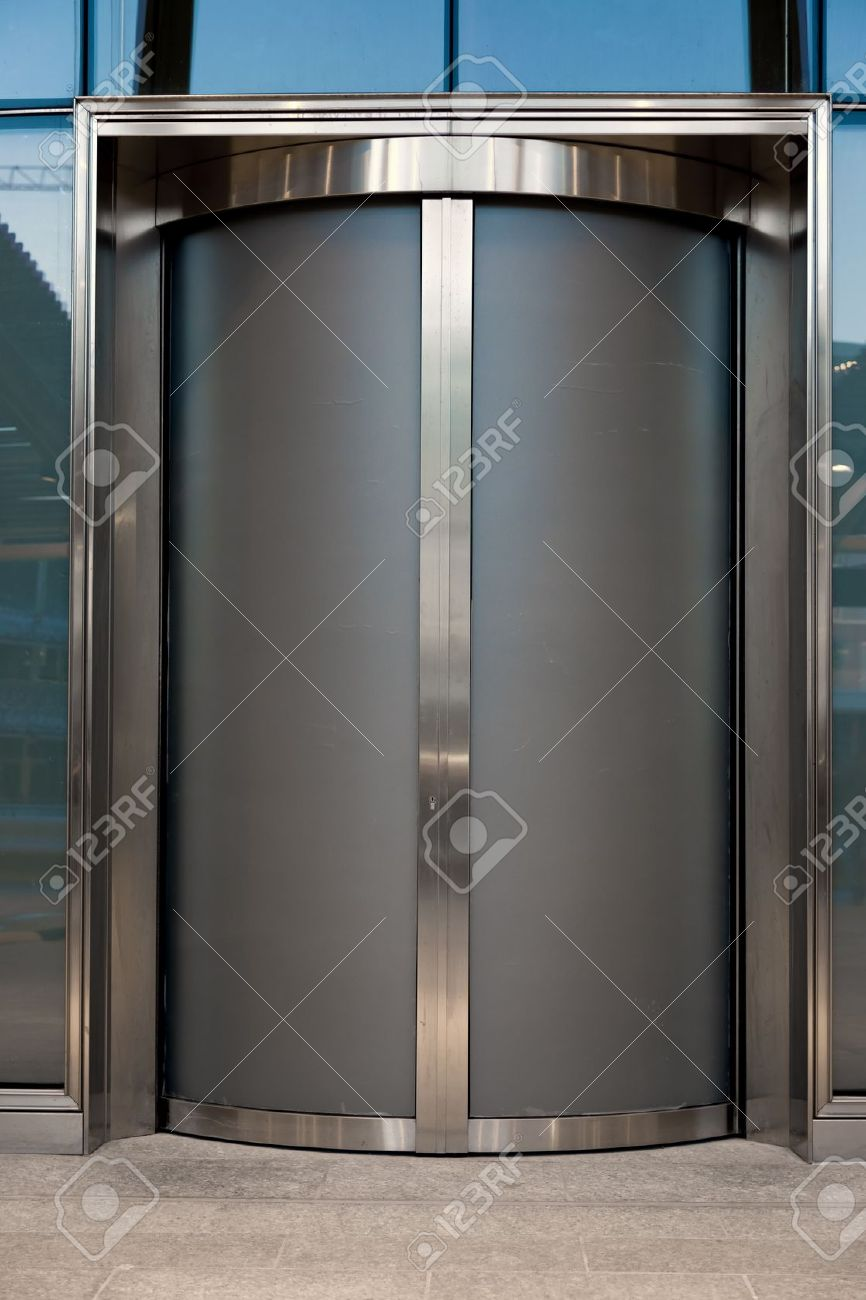 Door Glass Or Elevator In Business Office Stock Photo Picture And