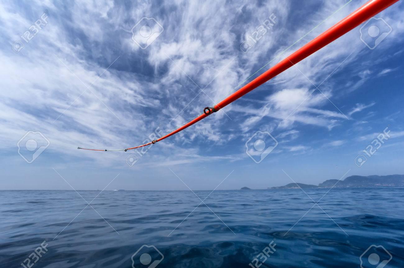 boat fishing rod in open water Stock Photo - 22900353