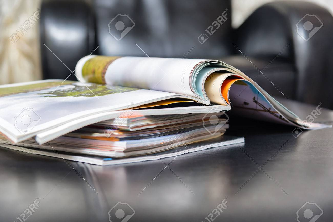 Color magazines in leather living room - 28040449