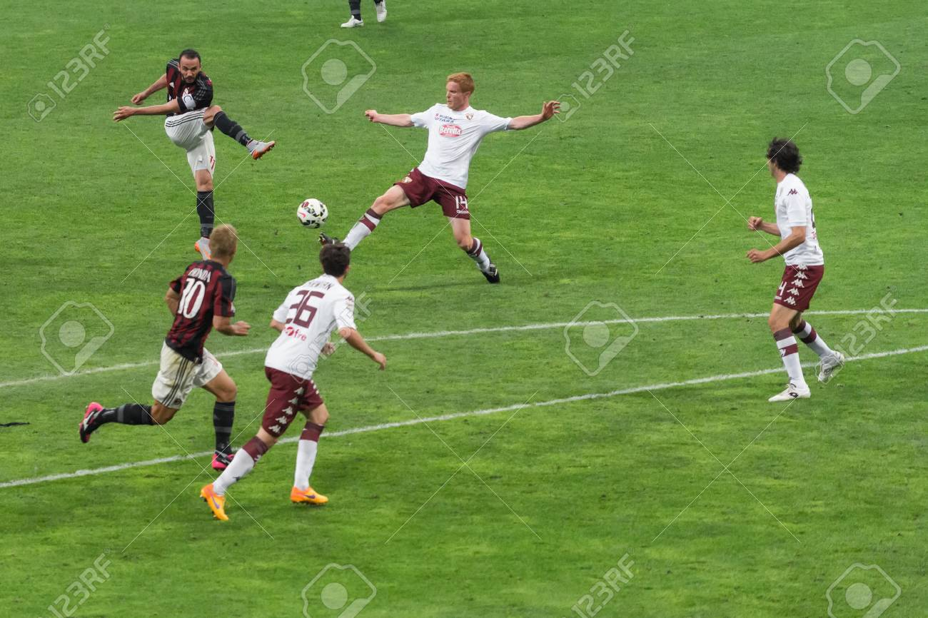 MILAN, ITALY - MAY 24, 2015: football players in action during