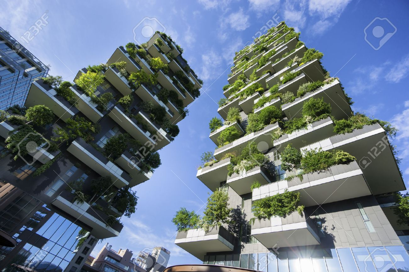 MILAN, ITALY - MAY 15, 2016: Bosco Verticale (Vertical Forest) low view. Designed by Stefano Boeri, sustainable architecture in Porta Nuova district, in Milan - 57704948