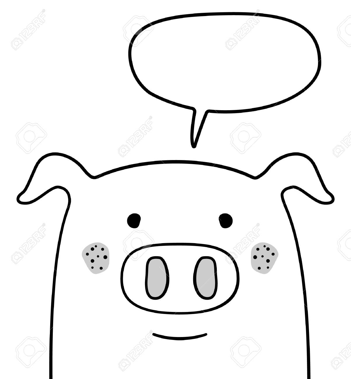 doodle sketch pig with chat cloud vector illustration cartoon