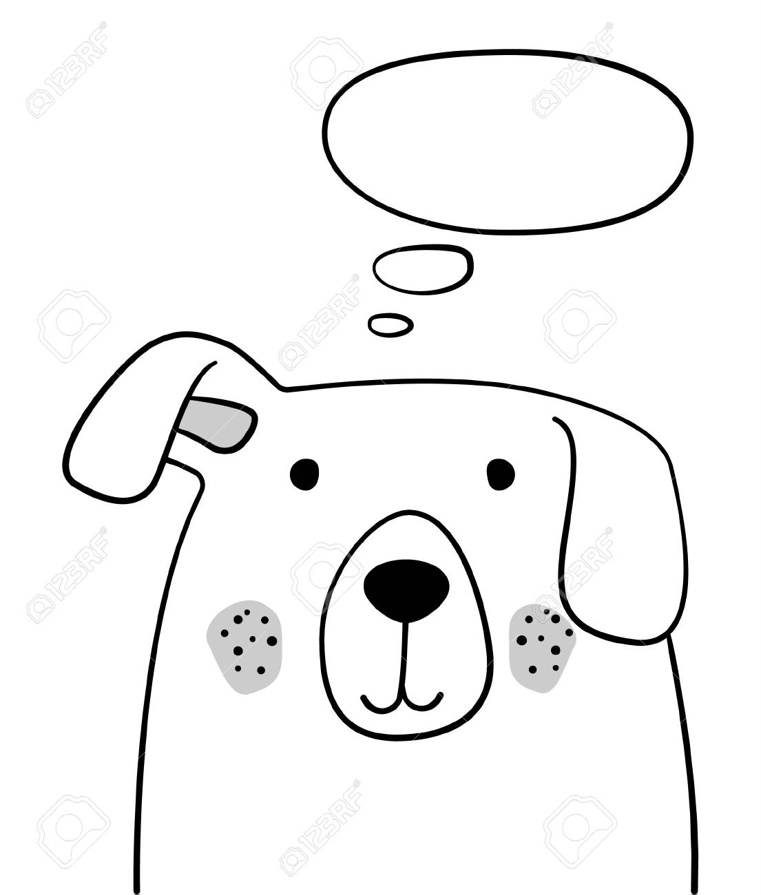 Doodle Sketch Dog With Thought Cloud Illustration Cartoon Dog