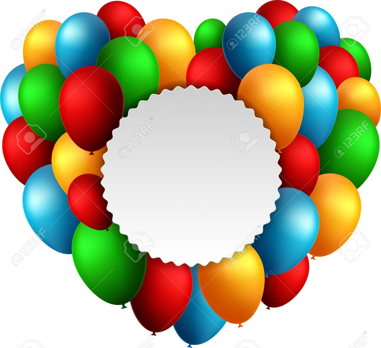 Happy Birthday Balloons Flying For Party And Celebrations With Text In Circle Isolated White Background