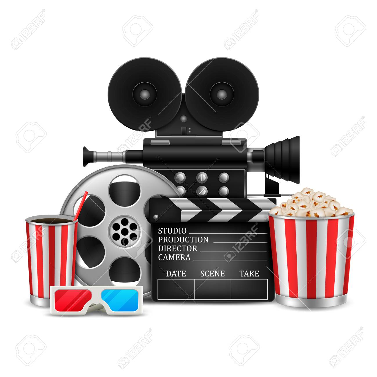 Cinema Concept With Movie Theatre Elements Set Of Film Reel Royalty Free Cliparts Vectors And Stock Illustration Image 110737846