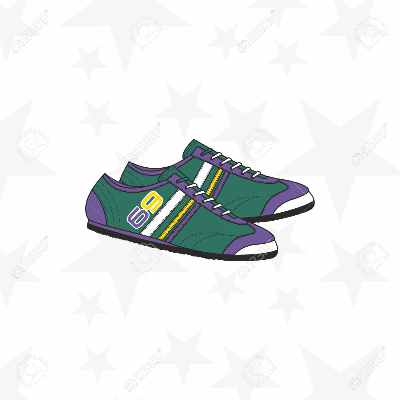 Sneaker for man or woman. Trainer running casual gym shoes. Sports accessory. - Vector - 134130154