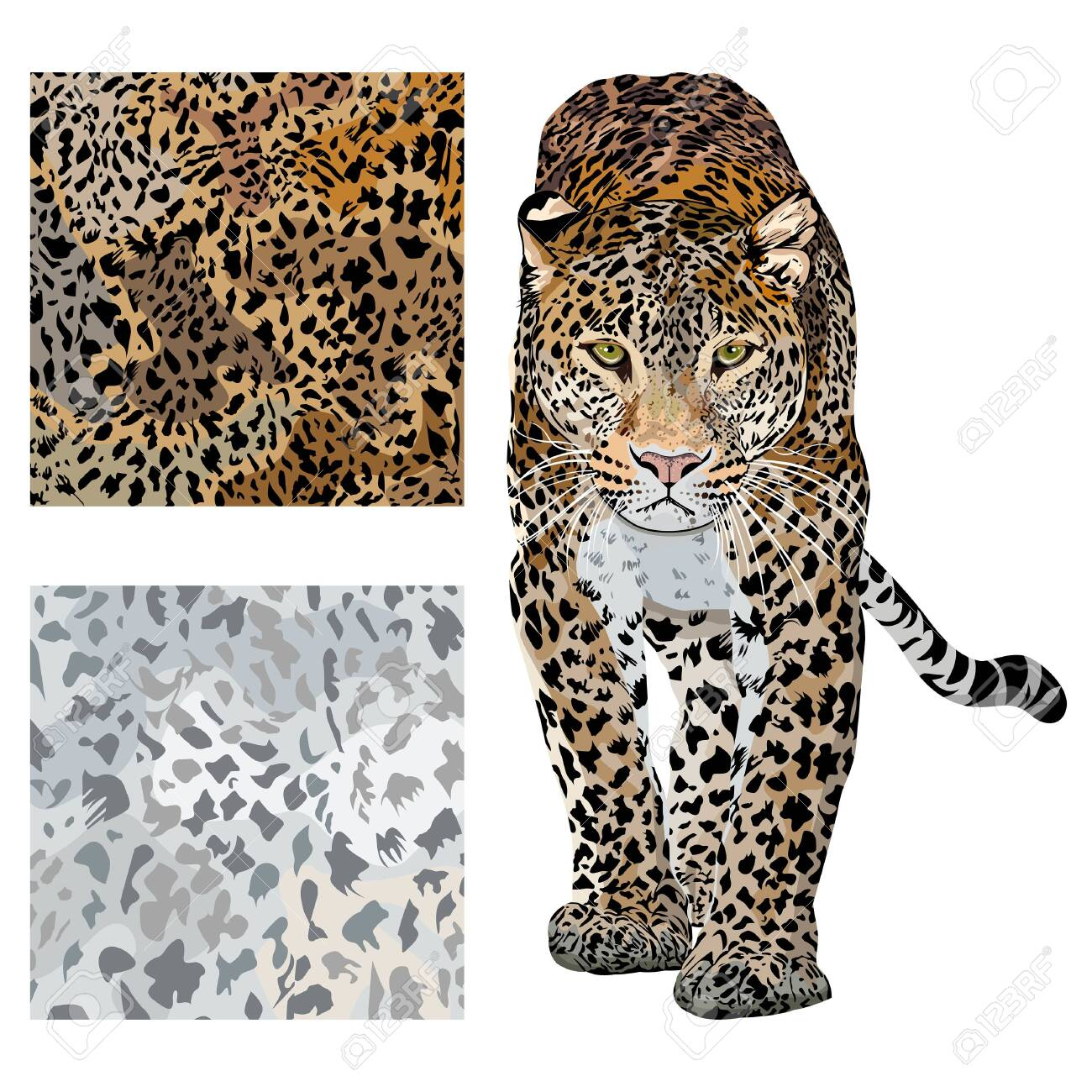Vector sketch of walks leopard.Seamless leo pattern.Animal print.Wildlife. - 144955022