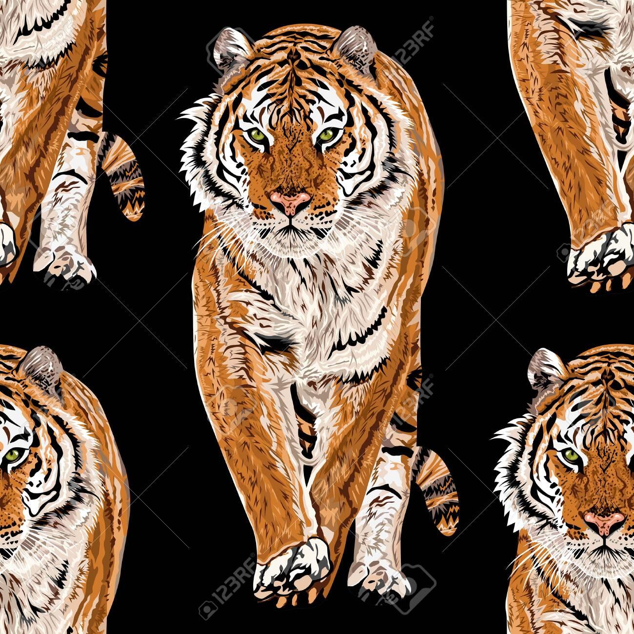 Vector sketch of walks bengal tiger.Seamless leo pattern.Animal print.Wildlife. - Vector. - 145333777