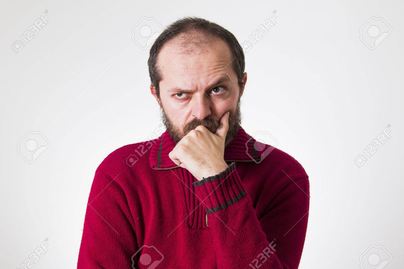 Man In Red Sweater, With Beard And Mustaches, Confused And Skeptic ...