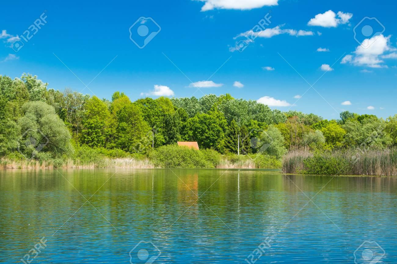 Schöne Landschaft Landschaft - See Im Naturpark Lonjsko Polje ...
