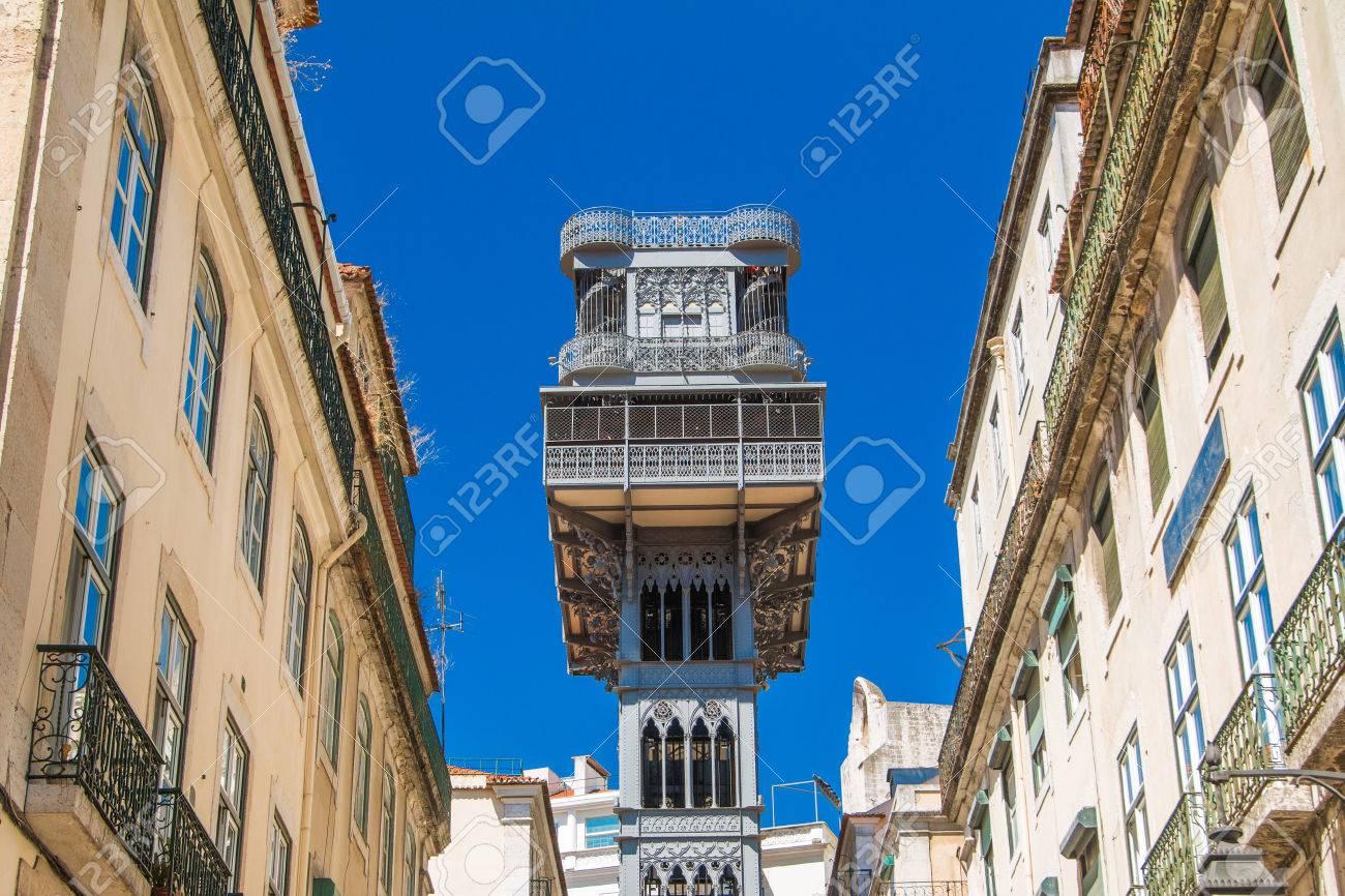 Famous Santa Justa elevator in the Baixa District in Lisbon,