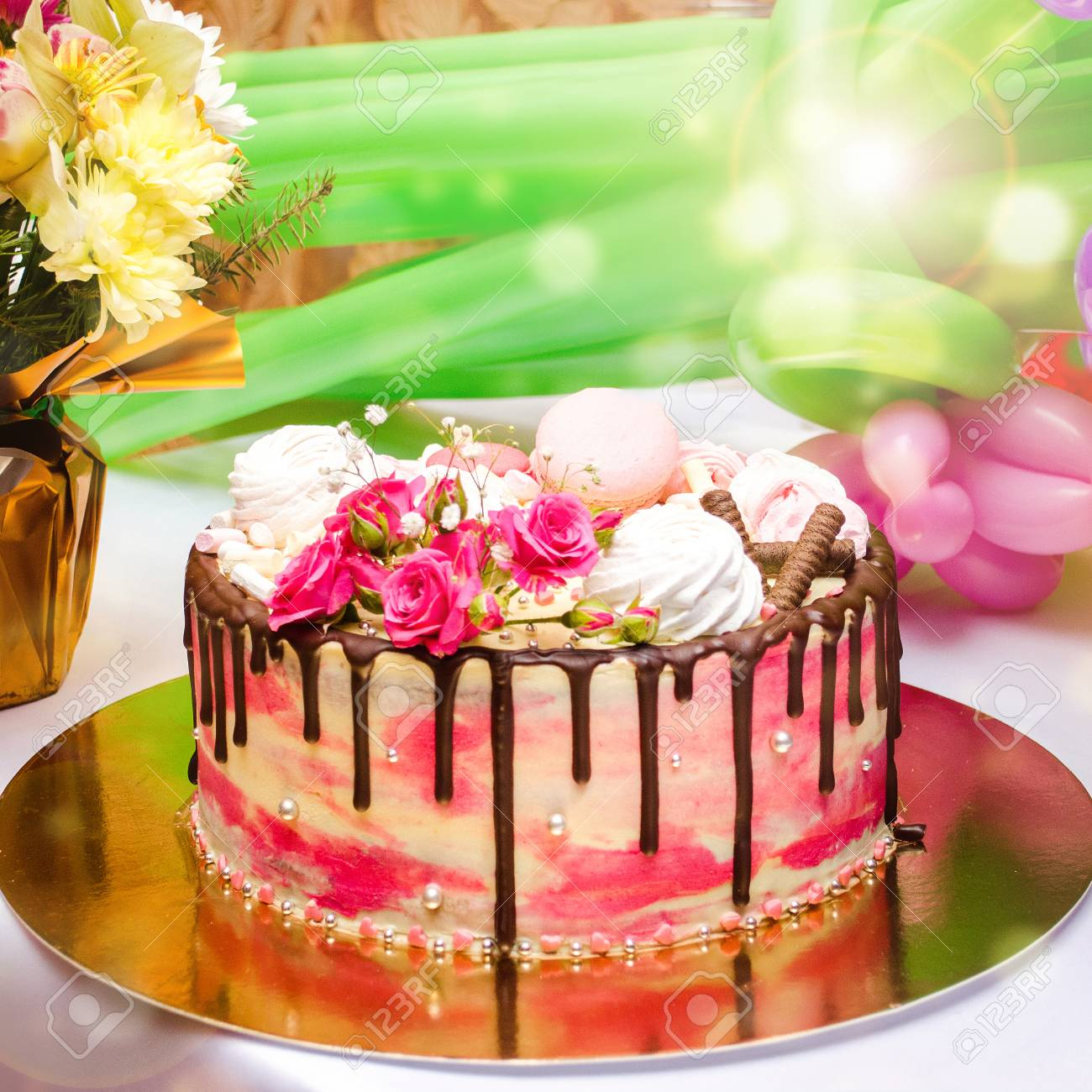 Birthday Cake On The Table Sweet Bright Background Stock Photo