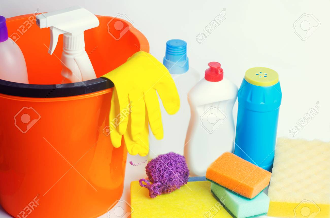 separation shoes e3ab0 c3218 Cleaners on an isolated white background, housekeeping , supplies, concept  of cleanliness Stock Photo
