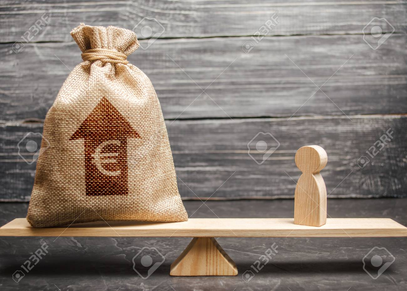 Euro money bag with up arrow and man figurine on scales  The