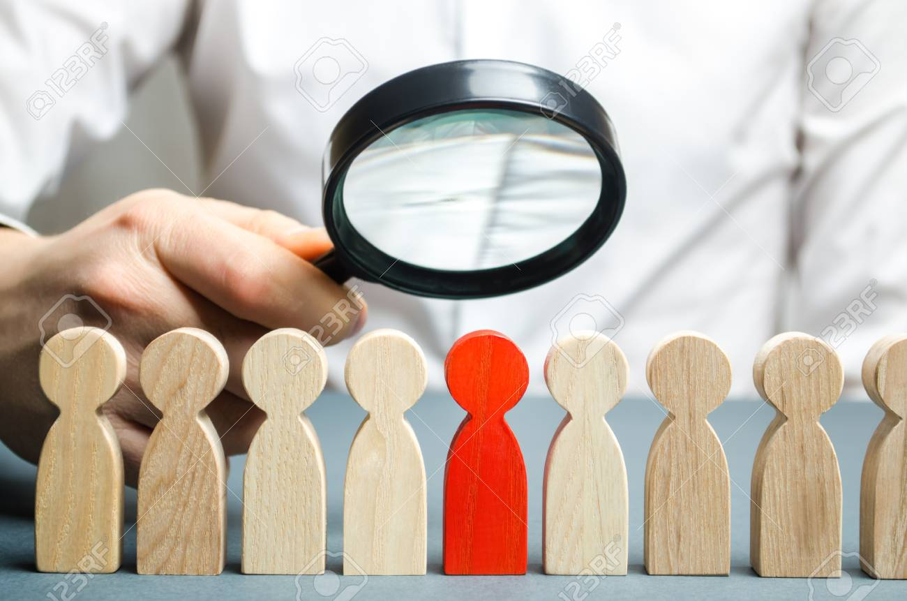 Businessman searching for new employees. Staff recruitment. Select a person in the team. Find a talented employee. Attracting people to work. Bad worker. Weak link. Human Resource. Magnifying glass - 118835232