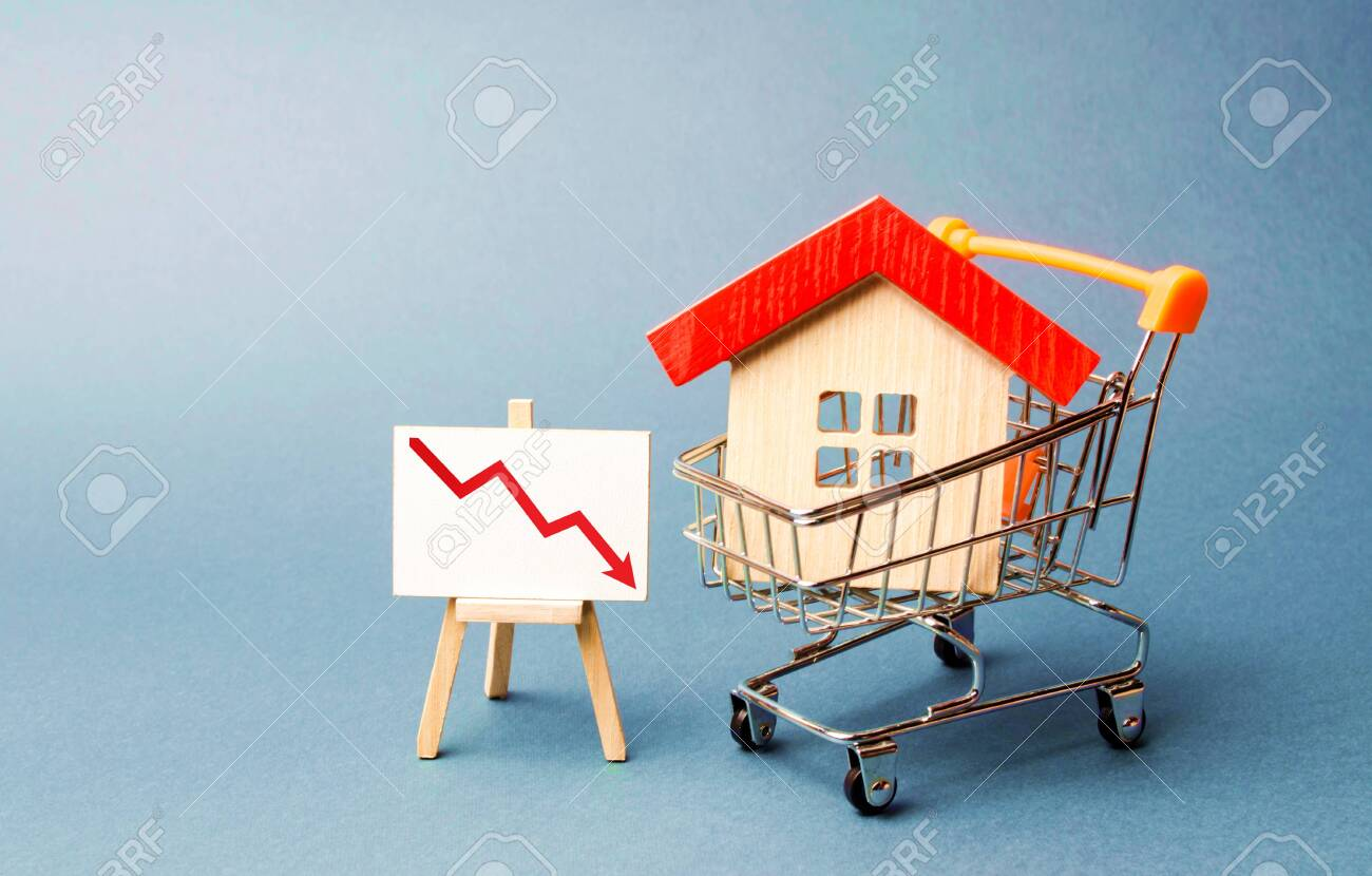 House In The Shopping Cart And A Stand With Red Chart Arrow Down The Stock Photo Picture And Royalty Free Image Image 127575766 There are 426 stand arrow for sale on etsy, and they cost $25.86 on average. 123rf com