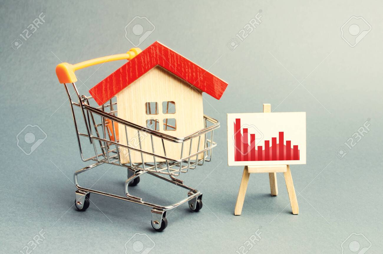 House in the shopping cart and a stand with negative red trend chart. fall of the real estate market. concept of value or cost decrease. low liquidity and attractiveness. cheap rent or cost of buying. - 132559001