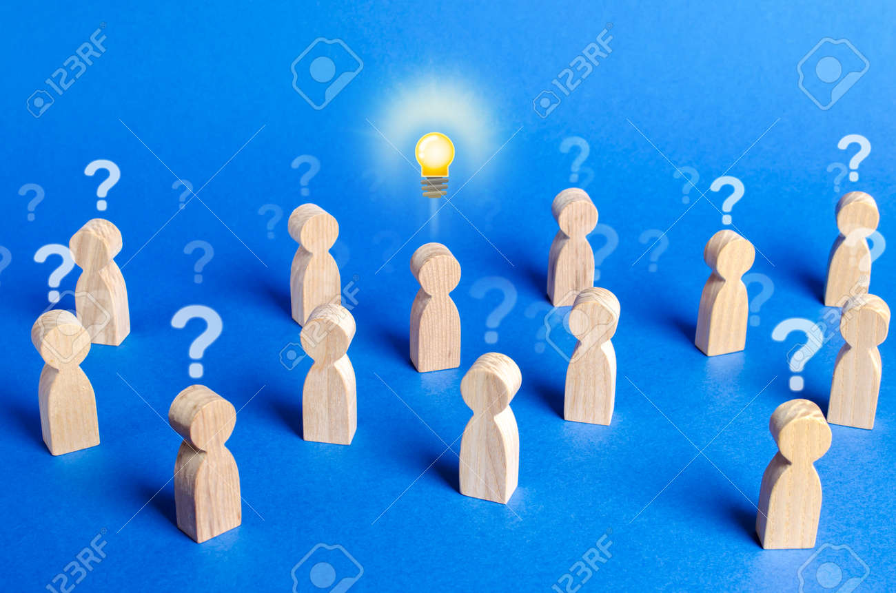 Crowd of people with question marks and a person with an idea. Dispelling all speculation doubt. Leadership and generator of new ideas. Personal opinion. Initiative, conviction of others, originality - 133610943