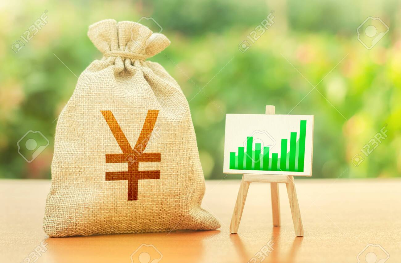 Yen Yuan money bag and easel with green positive growth graph. Recovery and growth of economy, good investment attractiveness. Economic development. Business sentiment. High deposits profitability. - 153246576