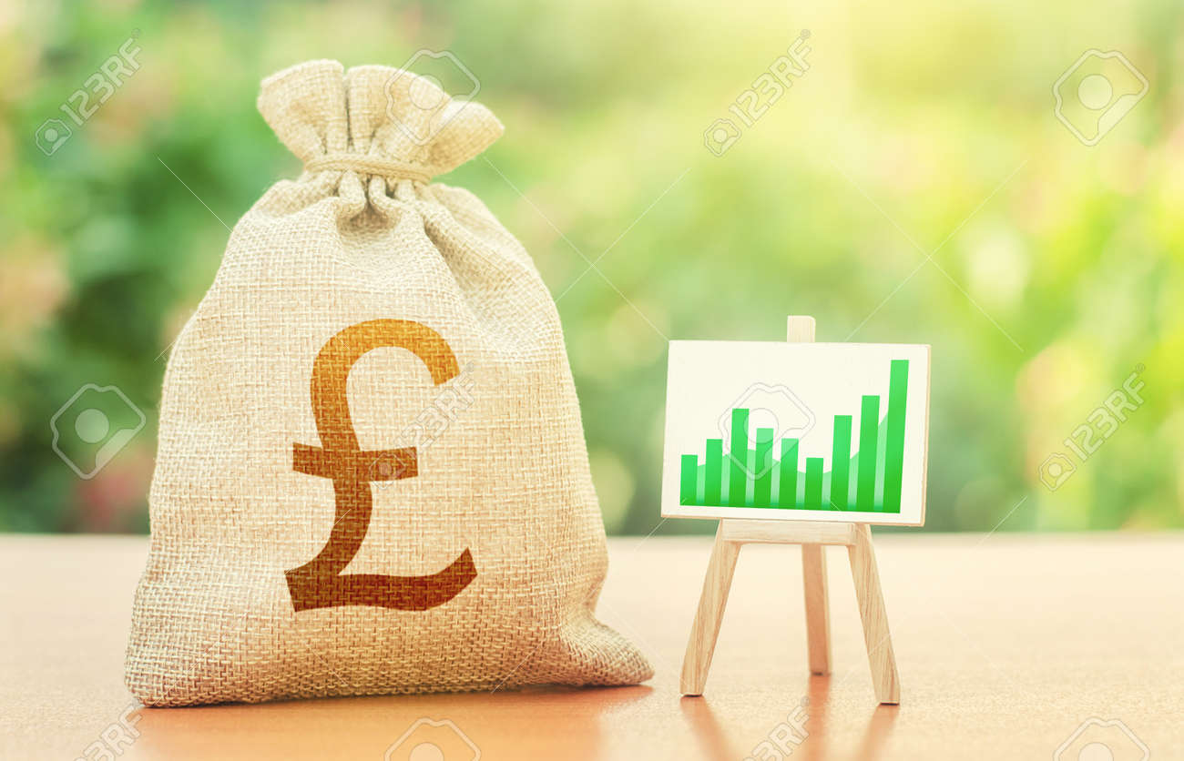 British pound sterling money bag and easel with green positive growth graph. Economic development. Recovery and growth economy, good investment attractiveness. Deposits profitability. - 154263727
