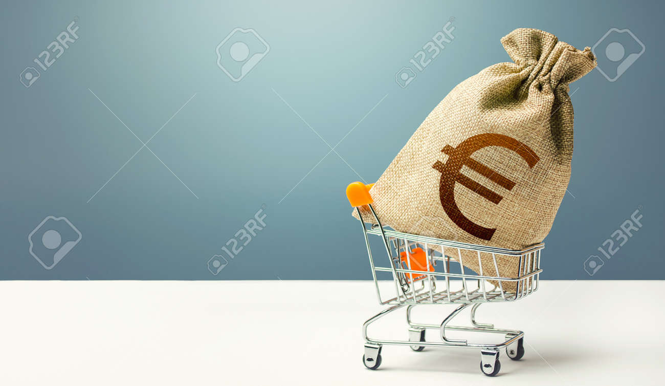 Euro money bag on a shopping cart. Profits and super profits. Loans and microloans. Minimum living wage. Consumer basket. Business and trade concept. Public procurement, budgeting. Economic bubbles - 158572932