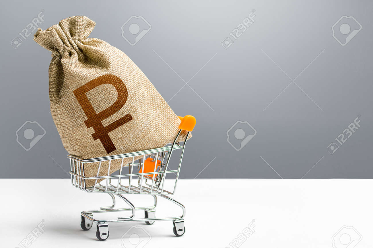 Russian ruble money bag in a shopping cart. Public budgeting. Profits and super profits. Economic bubbles. Loans, microloans. Consumer basket. Business and trade concept. Minimum living wage. - 162744862