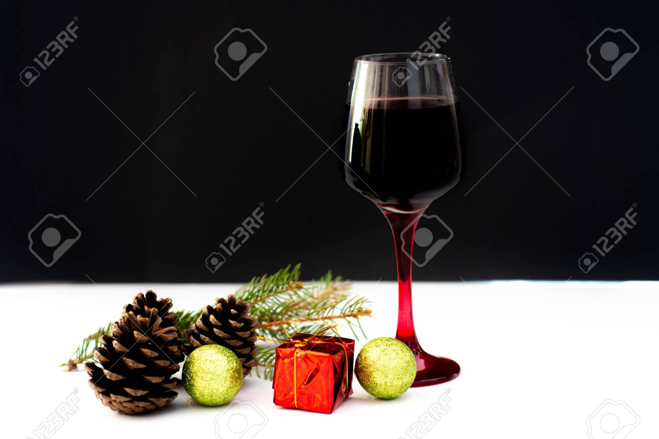 Various wine selections, glasses for Christmas holiday party - 121131451