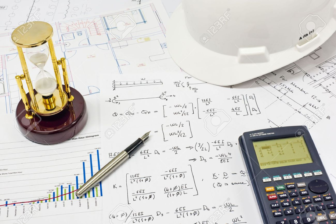 Desk of Civil Design Engineer who has just made structural analysis