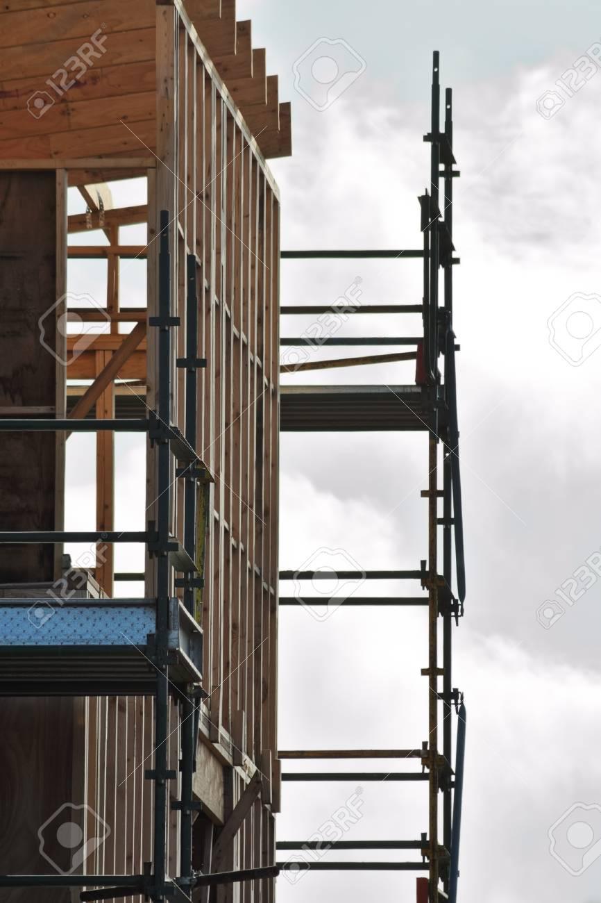 New Unfertige Haus Mit Australischer Holzrahmen Und Metall Gerüste ...