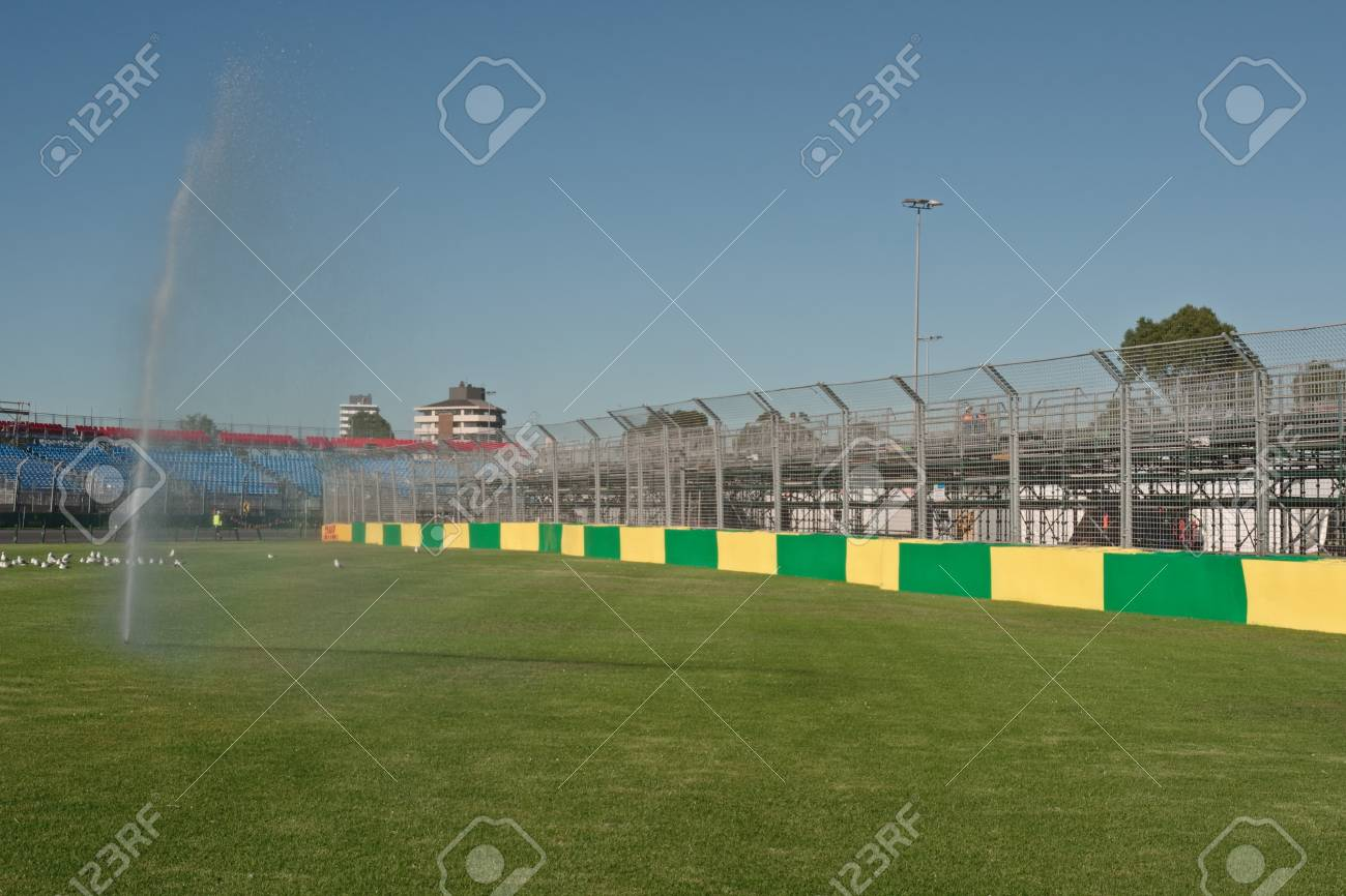 Tyre barriers and watering fountain at Melbourne Grand Prix circuit