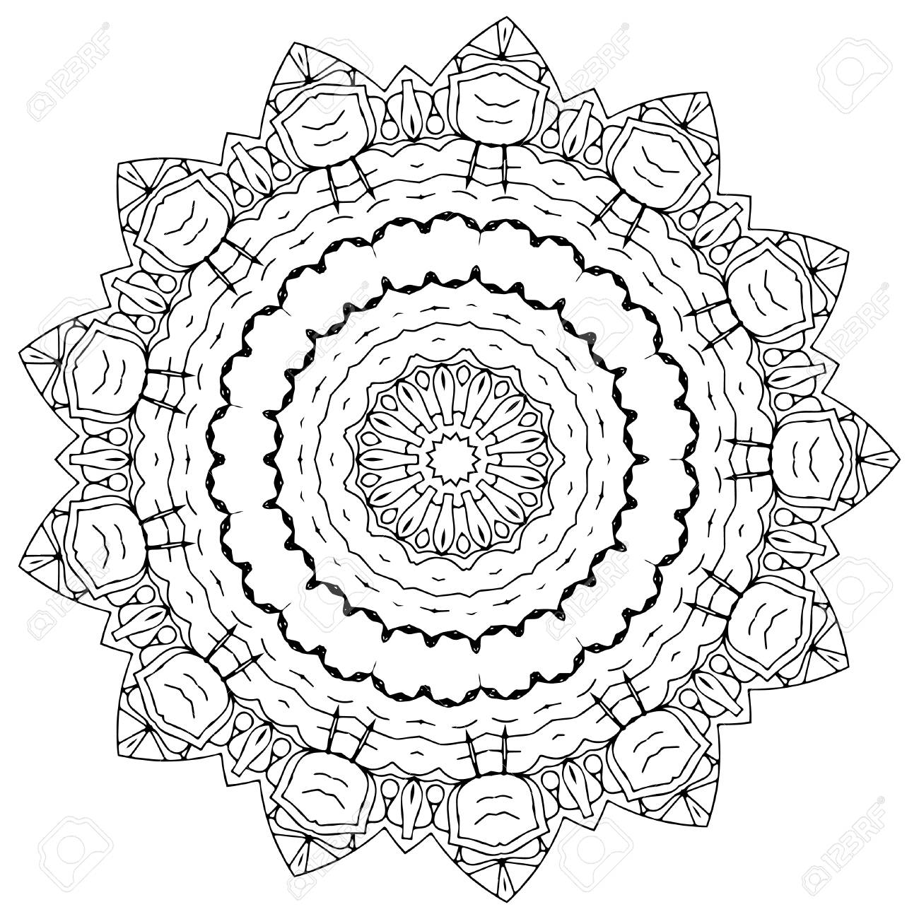 Vector Hand Drawing Mandala Designs A Mix Of Patterns Flowers