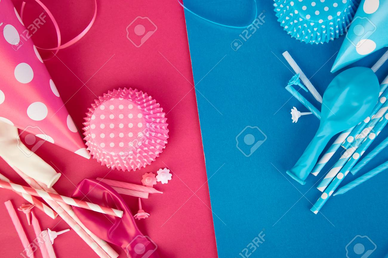 Celebration Flat Lay. Party Pink And Blue Hat Polka Dot Background ... 50a7aad26b9