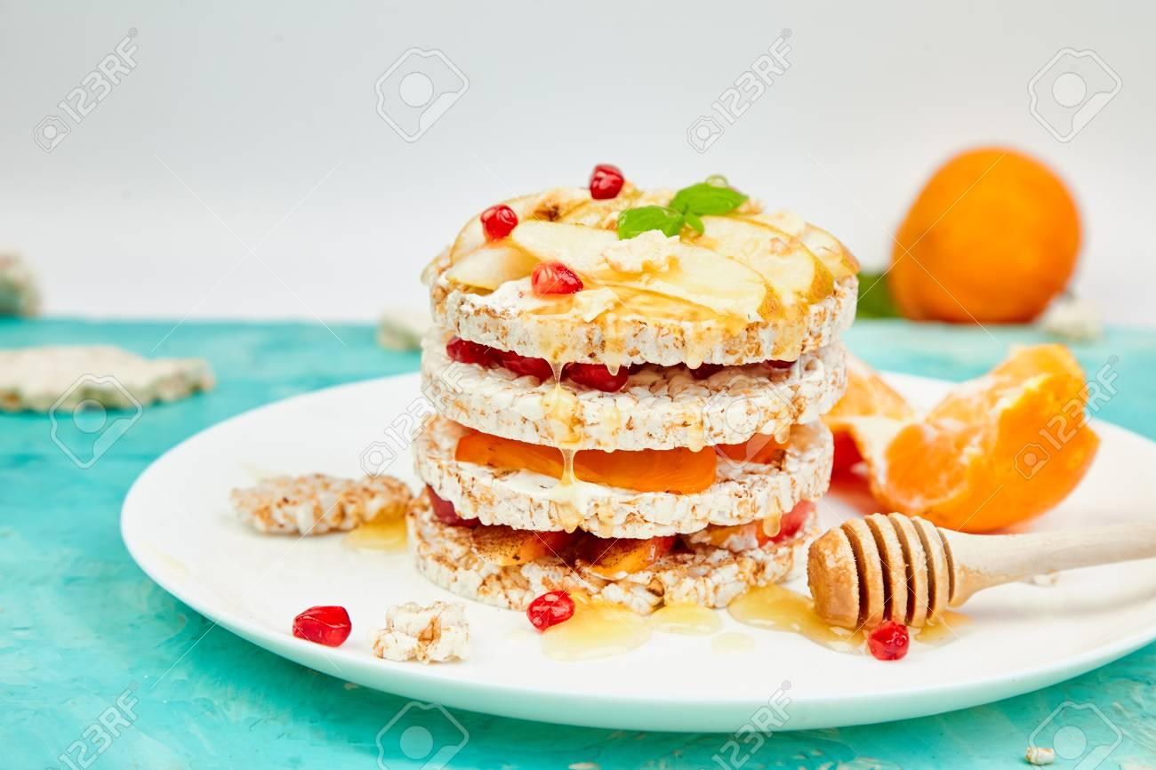 Vegan Diet Organic Natural Birthday Cake With Rice Crisp Bread And