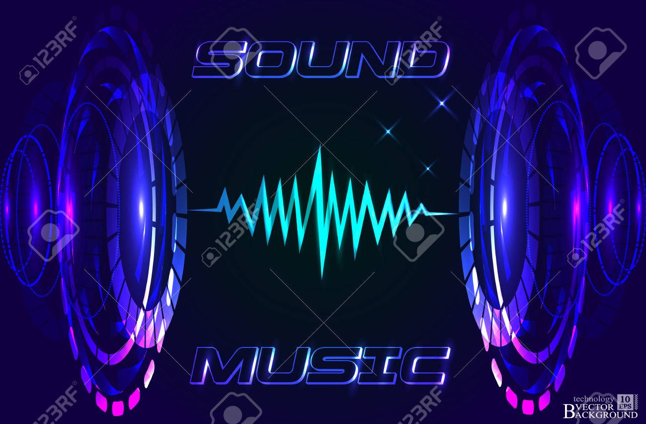 Abstract music background, technology color background, futuristic