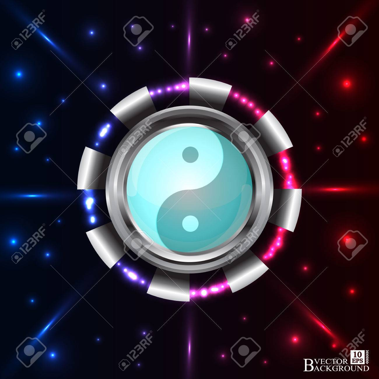Abstract Technology Background With Yin And Yang Symbols For