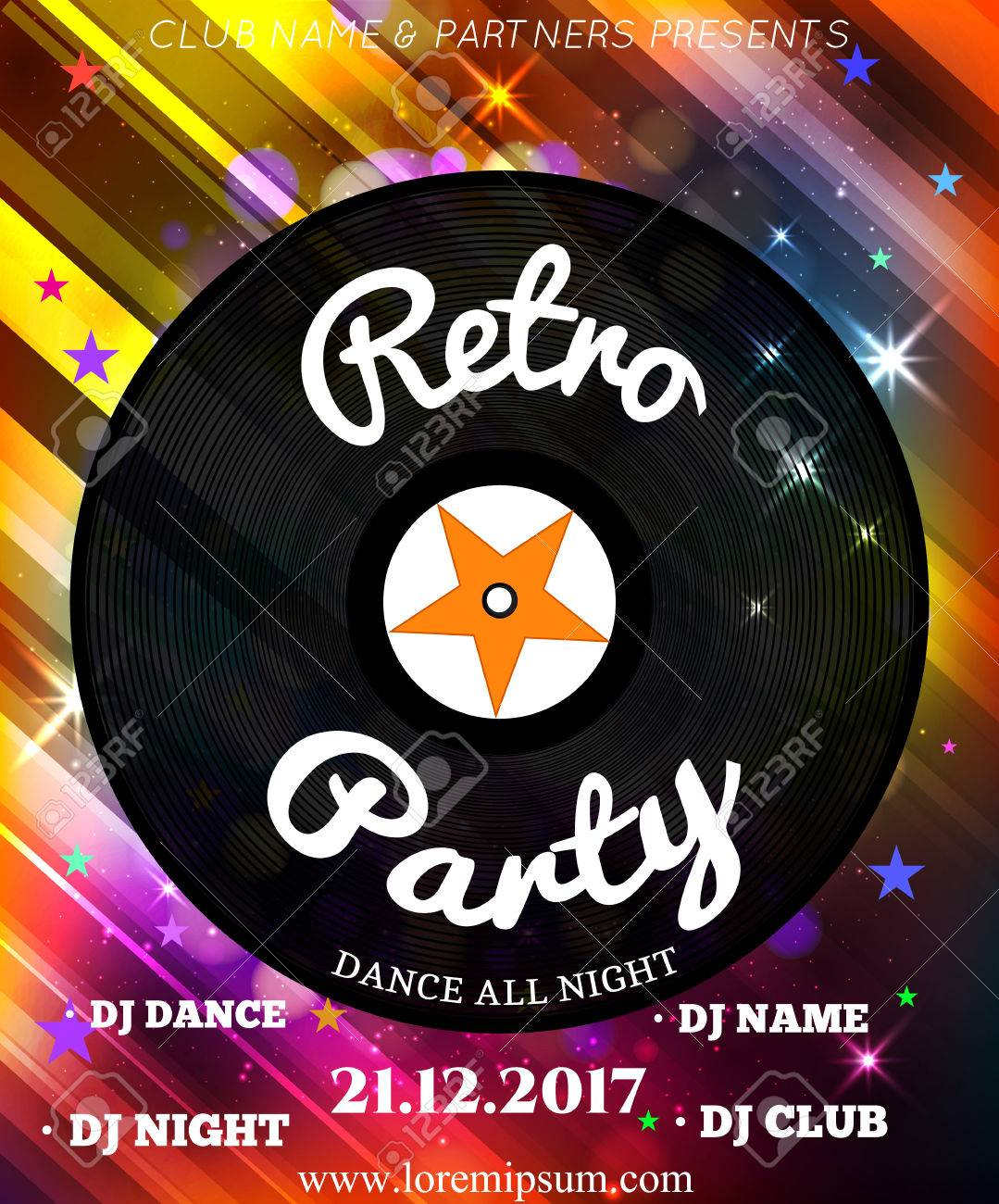 Retro Party Poster Background Template. Festival Vector Mockup ...
