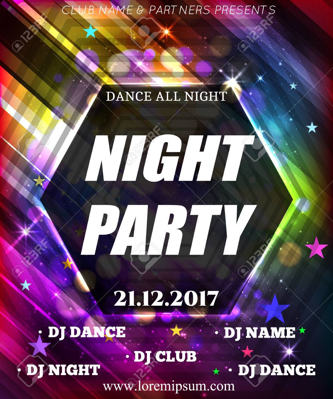 Night Dance Party Poster Background Template. Festival Vector ...